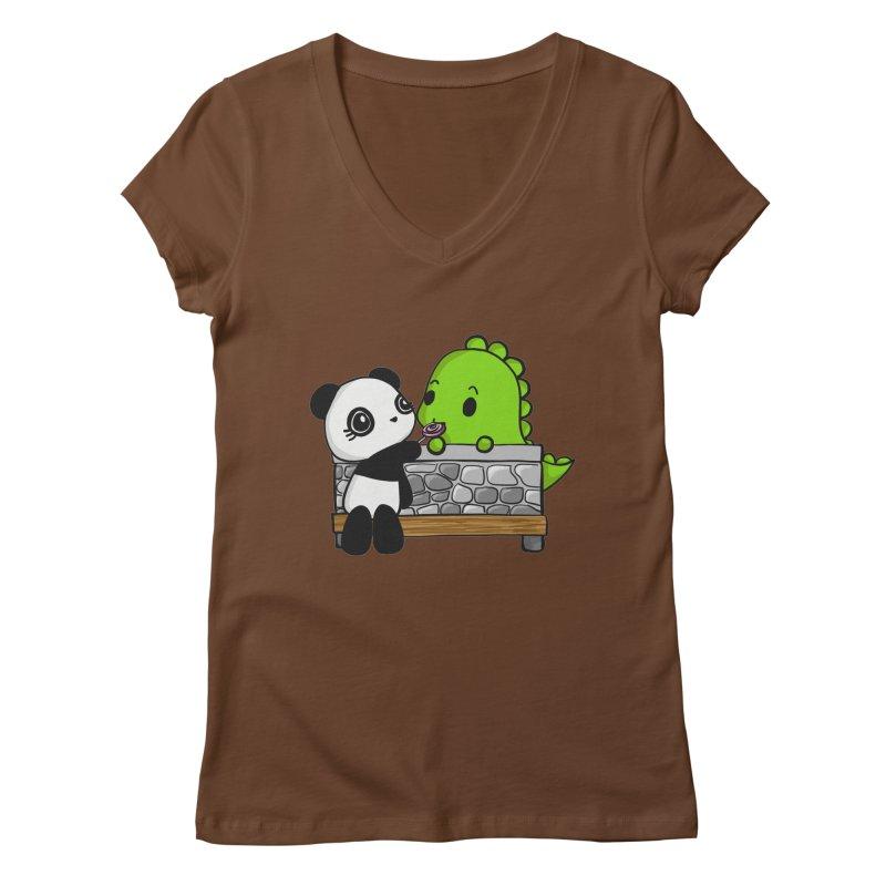 Sharing is Caring Women's Regular V-Neck by Dino & Panda Inc Artist Shop