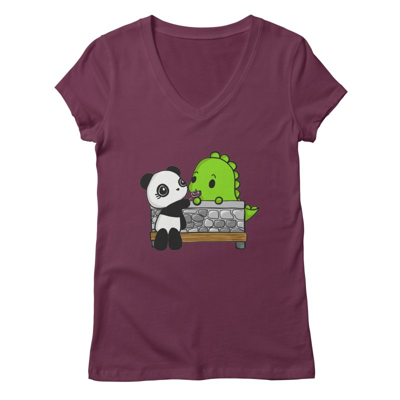 Sharing is Caring Women's V-Neck by Dino & Panda Inc Artist Shop