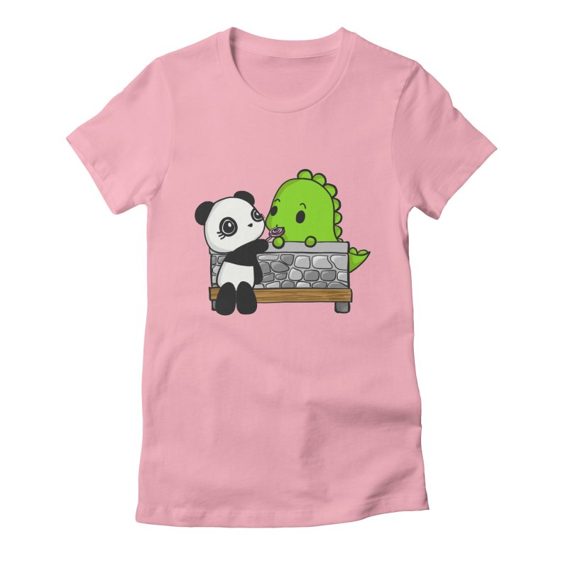 Sharing is Caring Women's Fitted T-Shirt by Dino & Panda Inc Artist Shop