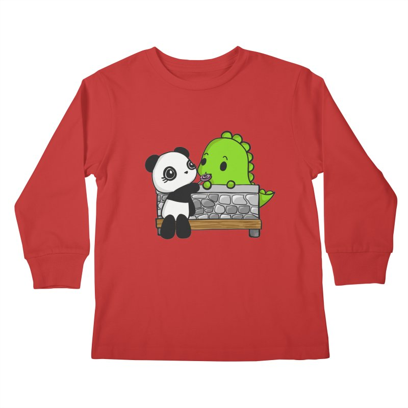 Sharing is Caring Kids Longsleeve T-Shirt by Dino & Panda Inc Artist Shop