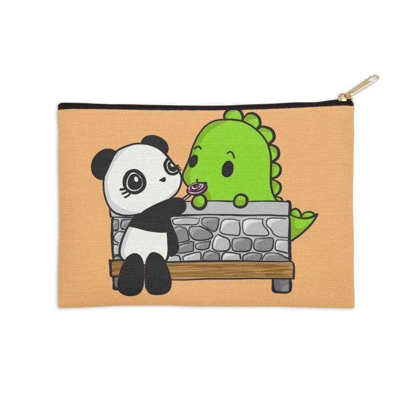 Sharing is Caring Accessories Zip Pouch by Dino & Panda Artist Shop