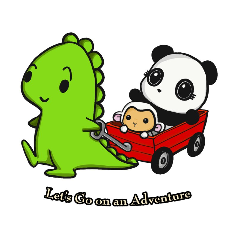 Wagon Ride Kids T-Shirt by Dino & Panda Inc Artist Shop