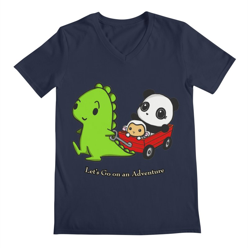 Wagon Ride Men's Regular V-Neck by Dino & Panda Inc Artist Shop