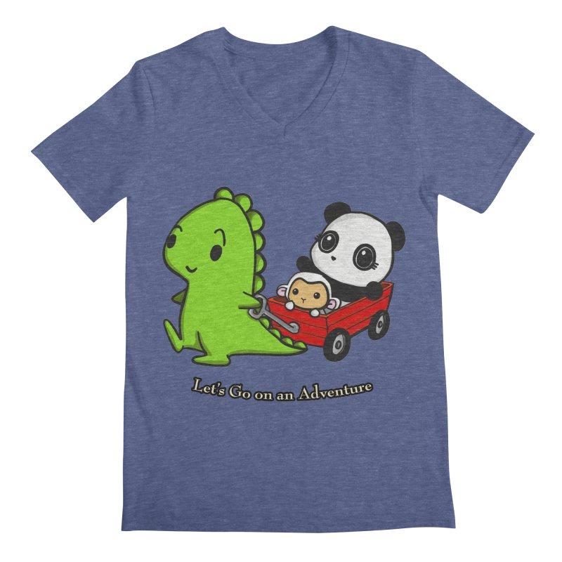 Wagon Ride Men's Regular V-Neck by Dino & Panda Inc Artist Shop