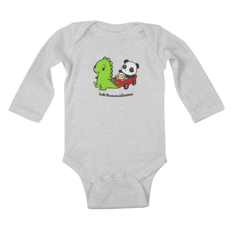 Wagon Ride Kids Baby Longsleeve Bodysuit by Dino & Panda Inc Artist Shop