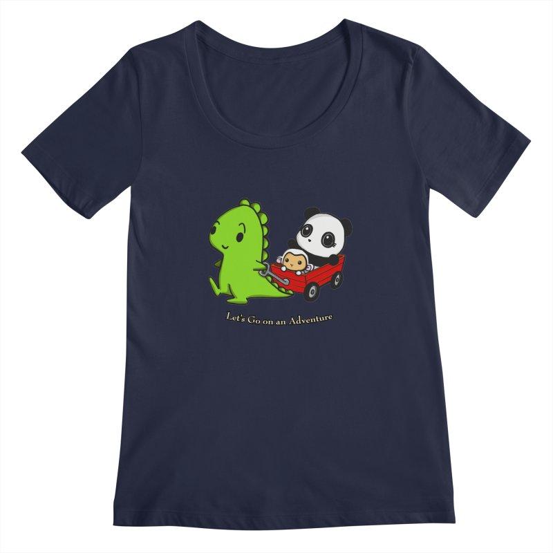 Wagon Ride Women's Scoopneck by Dino & Panda Inc Artist Shop