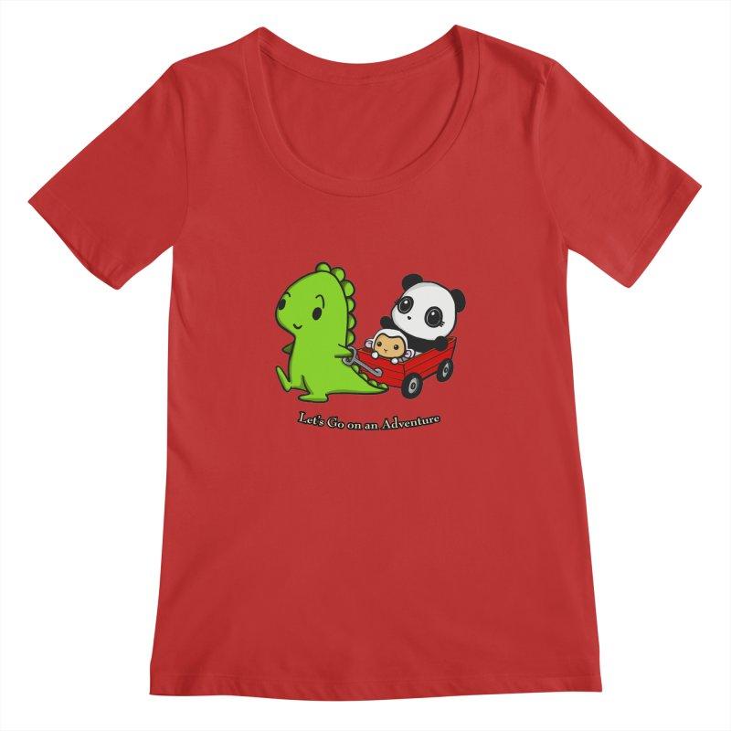 Wagon Ride Women's Regular Scoop Neck by Dino & Panda Inc Artist Shop