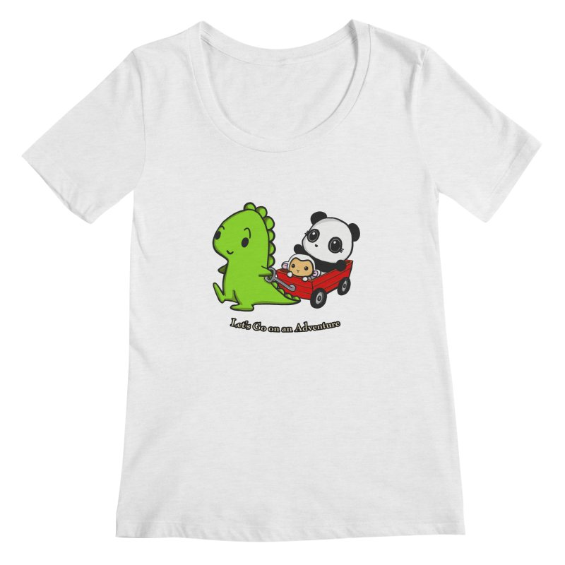 Wagon Ride Women's Regular Scoop Neck by Dino & Panda Inc Artist Shop