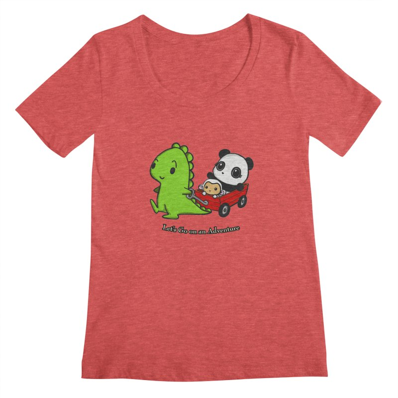 Wagon Ride Women's Scoopneck by Dino & Panda Inc Artist Shop