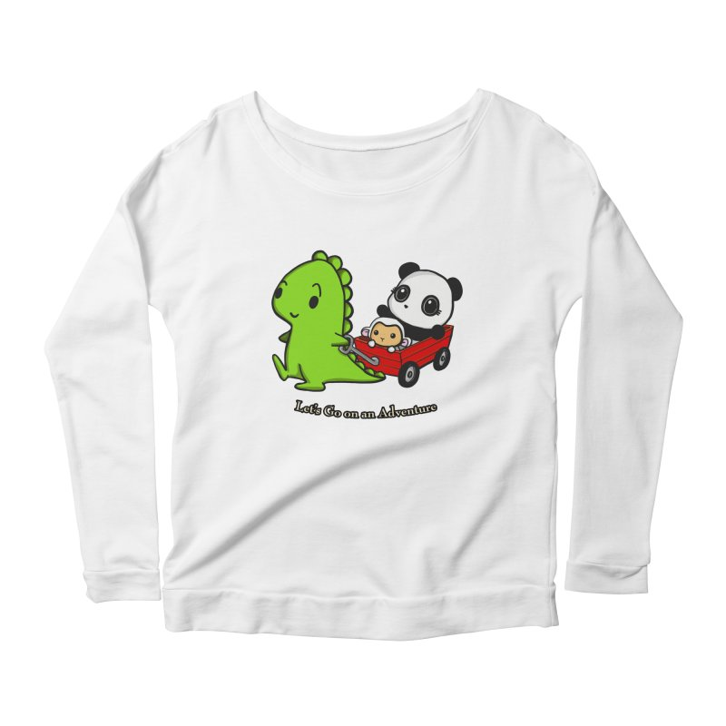 Wagon Ride Women's Longsleeve Scoopneck  by Dino & Panda Inc Artist Shop