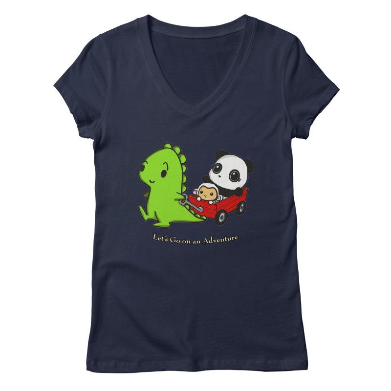 Wagon Ride Women's Regular V-Neck by Dino & Panda Inc Artist Shop
