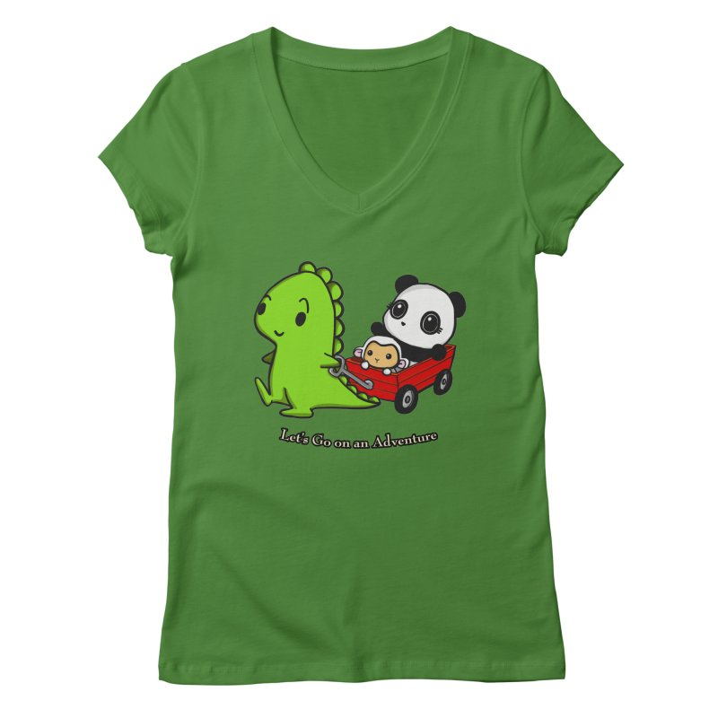 Wagon Ride Women's V-Neck by Dino & Panda Inc Artist Shop