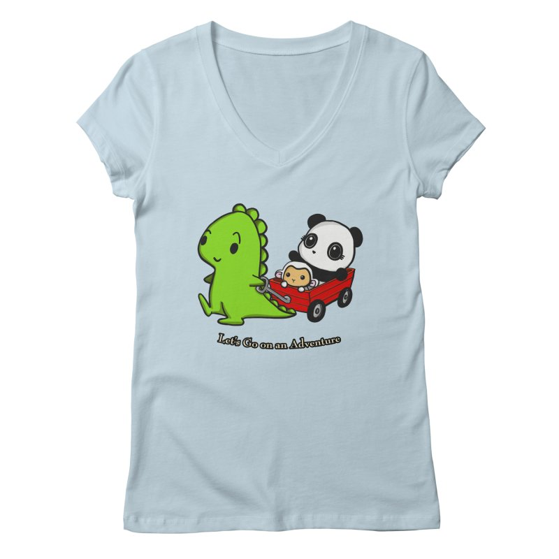 Wagon Ride Women's V-Neck by Dino & Panda Artist Shop