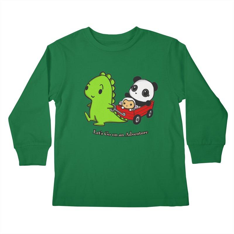 Wagon Ride Kids Longsleeve T-Shirt by Dino & Panda Inc Artist Shop