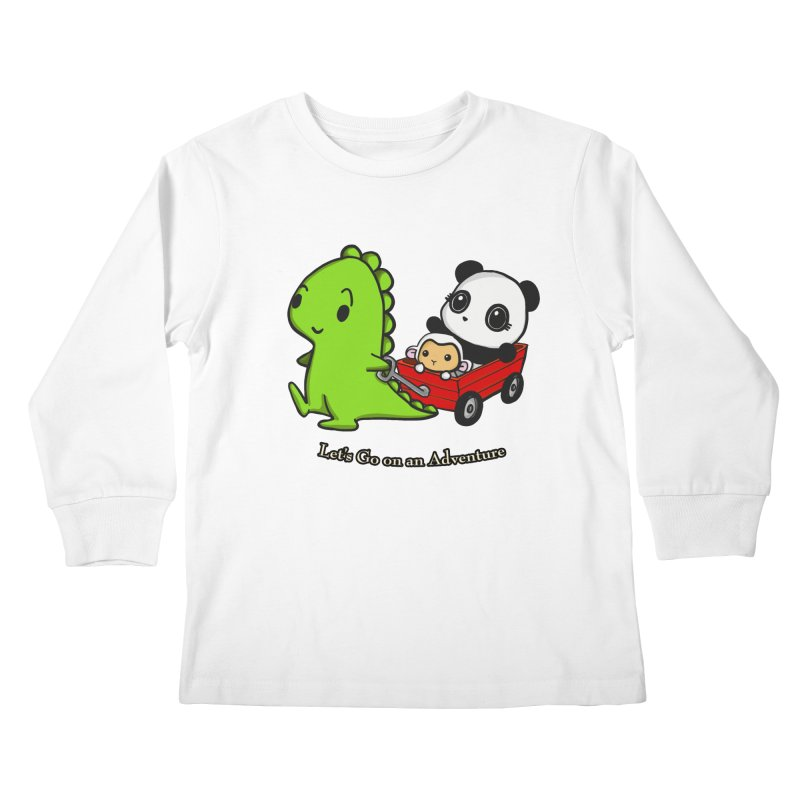 Wagon Ride Kids Longsleeve T-Shirt by Dino & Panda Inc Artist Shop