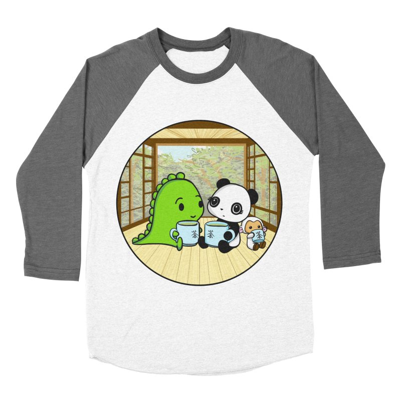 Japanese Tea House Men's Baseball Triblend Longsleeve T-Shirt by Dino & Panda Inc Artist Shop