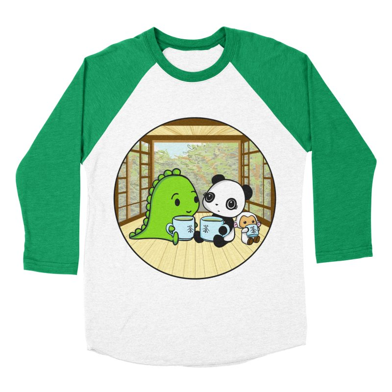 Japanese Tea House Men's Baseball Triblend Longsleeve T-Shirt by Dino & Panda Inc Artist Shop