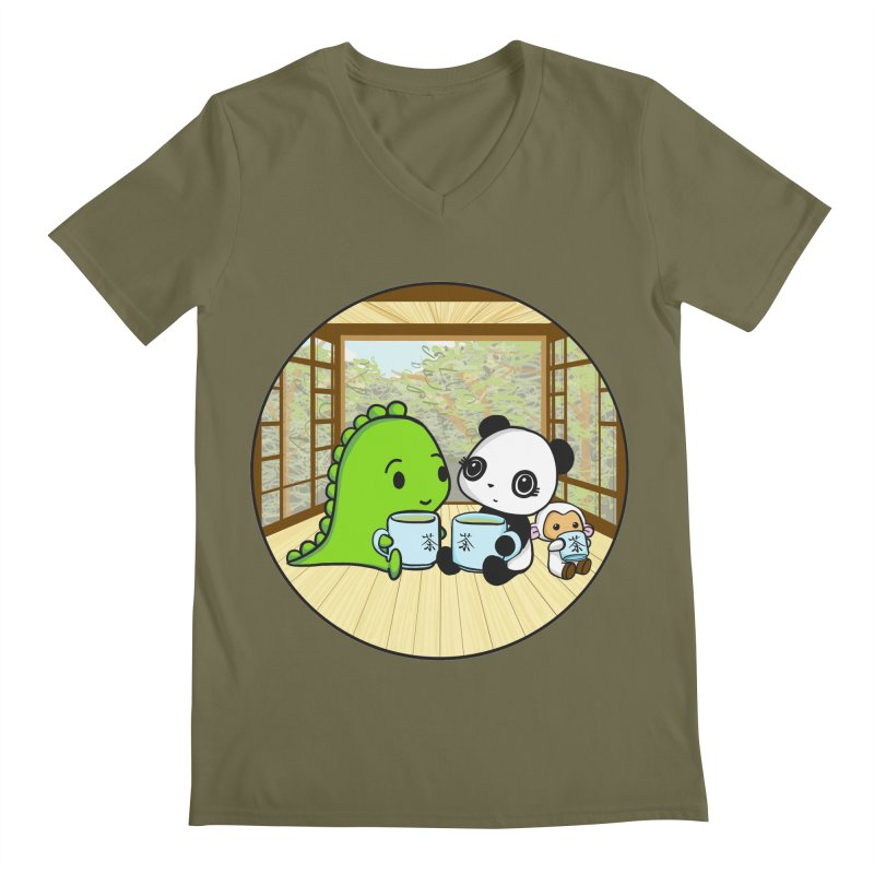 Japanese Tea House Men's Regular V-Neck by Dino & Panda Inc Artist Shop