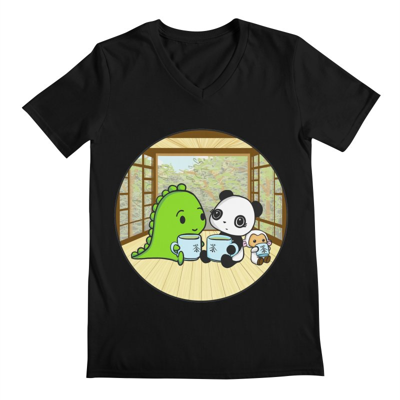 Japanese Tea House Men's V-Neck by Dino & Panda Inc Artist Shop
