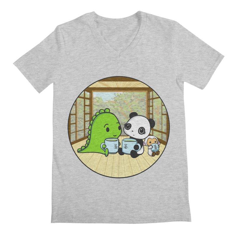 Japanese Tea House Men's Regular V-Neck by Dino & Panda Inc Artist Shop
