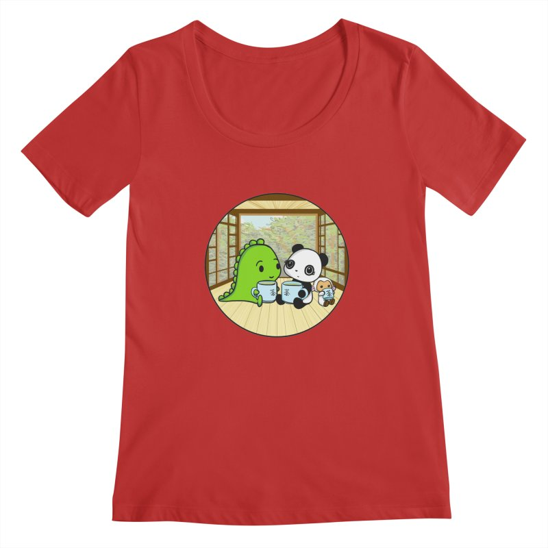 Japanese Tea House Women's Regular Scoop Neck by Dino & Panda Inc Artist Shop