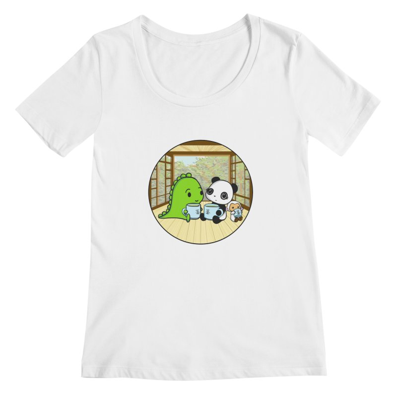 Japanese Tea House Women's Scoopneck by Dino & Panda Inc Artist Shop