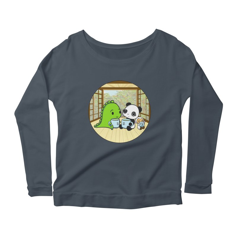 Japanese Tea House Women's Scoop Neck Longsleeve T-Shirt by Dino & Panda Inc Artist Shop