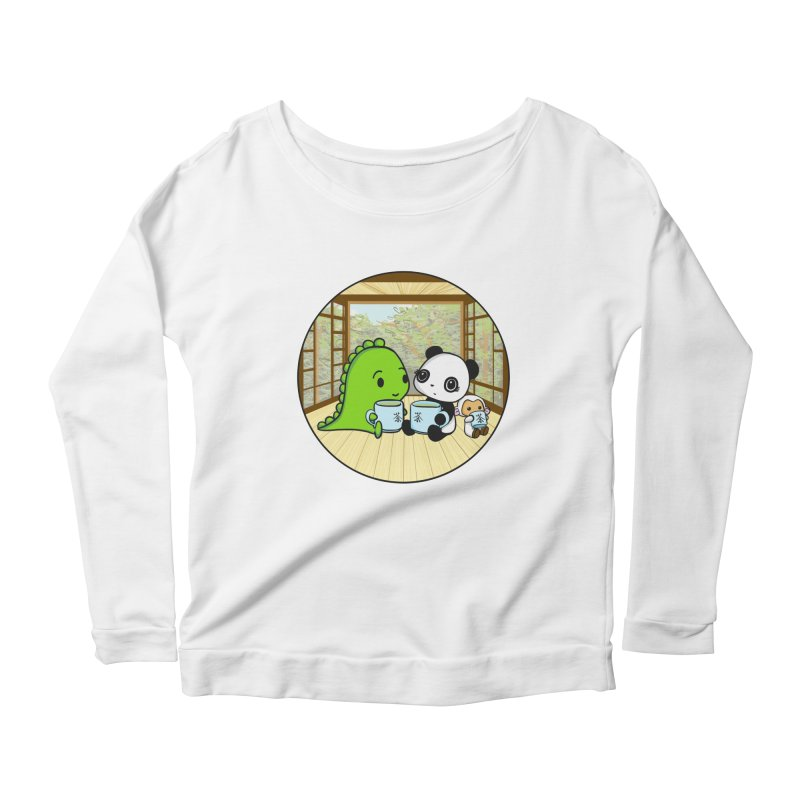 Japanese Tea House Women's Longsleeve Scoopneck  by Dino & Panda Inc Artist Shop