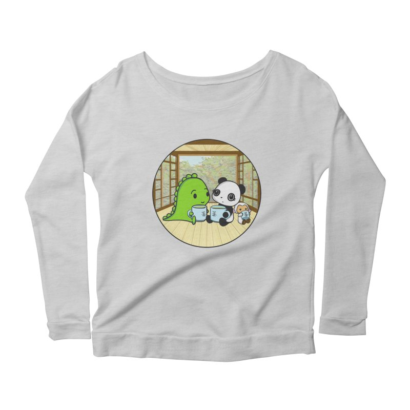 Japanese Tea House Women's Scoop Neck Longsleeve T-Shirt by Dino & Panda Inc Artist Shop