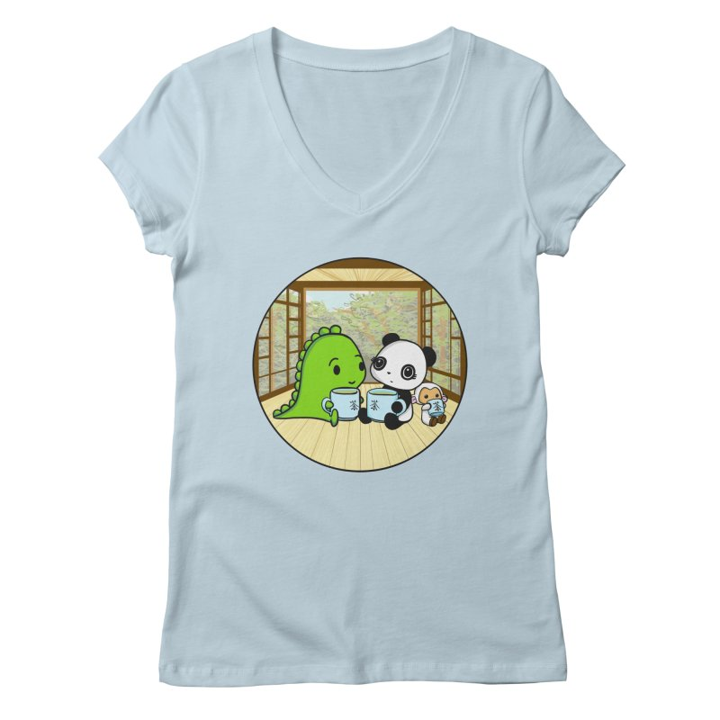 Japanese Tea House Women's V-Neck by Dino & Panda Inc Artist Shop