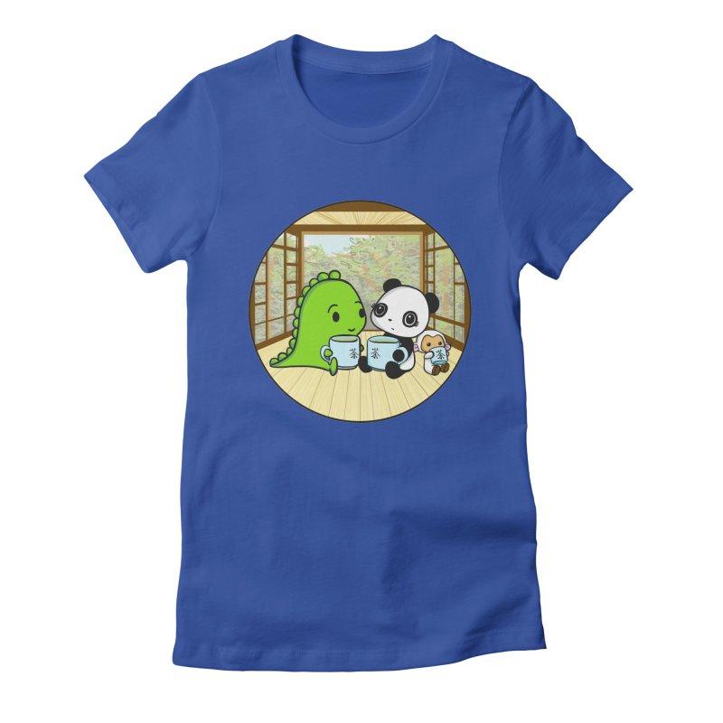Japanese Tea House Women's Fitted T-Shirt by Dino & Panda Inc Artist Shop
