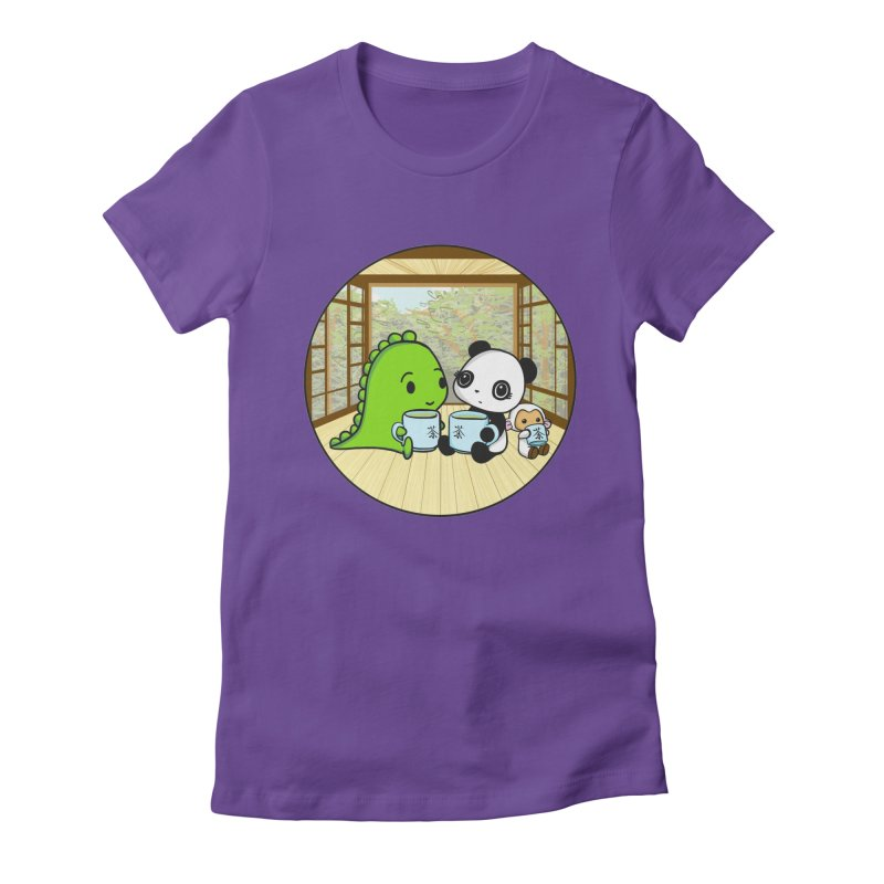 Japanese Tea House Women's Fitted T-Shirt by Dino & Panda Inc Artist Shop