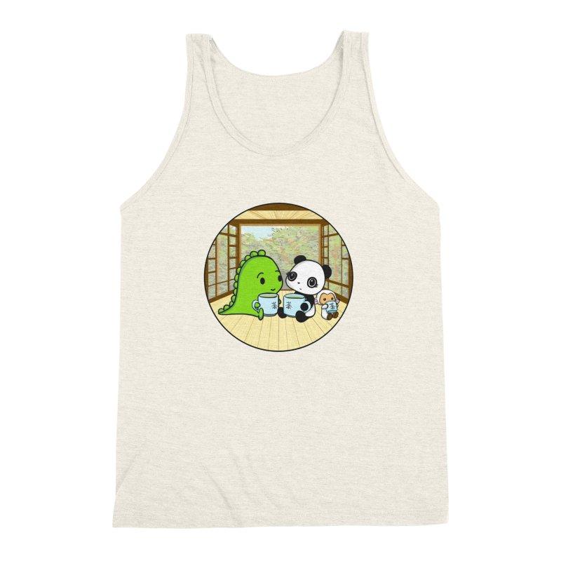 Japanese Tea House Men's Triblend Tank by Dino & Panda Inc Artist Shop