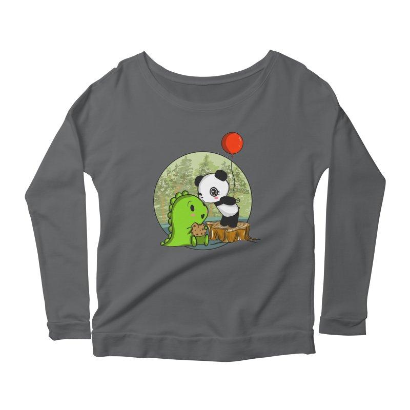 Cookies and Kisses Women's Longsleeve Scoopneck  by Dino & Panda Inc Artist Shop