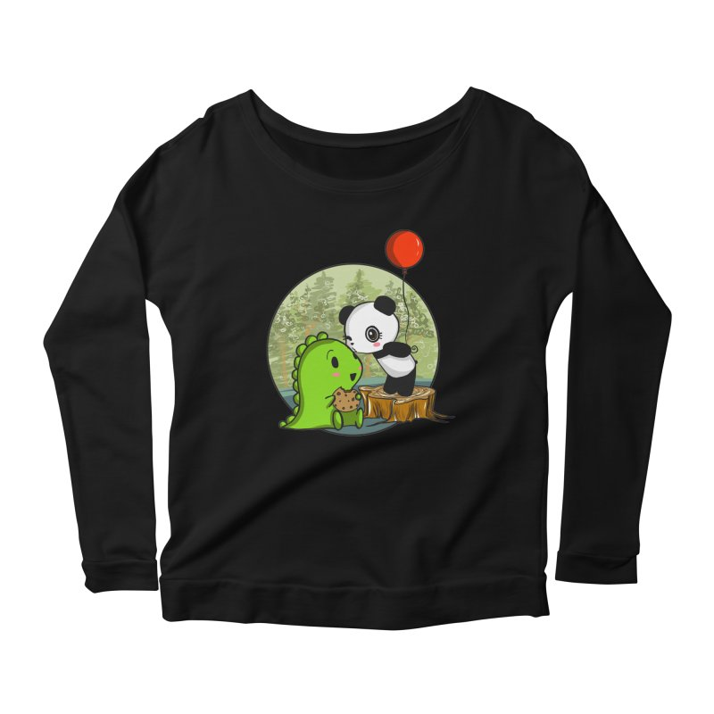 Cookies and Kisses Women's Longsleeve Scoopneck  by Dino & Panda Inc Artist Shop