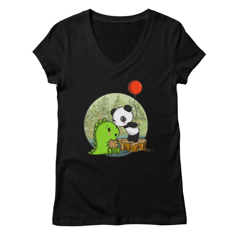 Cookies and Kisses Women's V-Neck by Dino & Panda Artist Shop