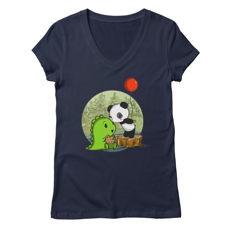 Cookies and Kisses Women's V-Neck by Dino & Panda Inc Artist Shop