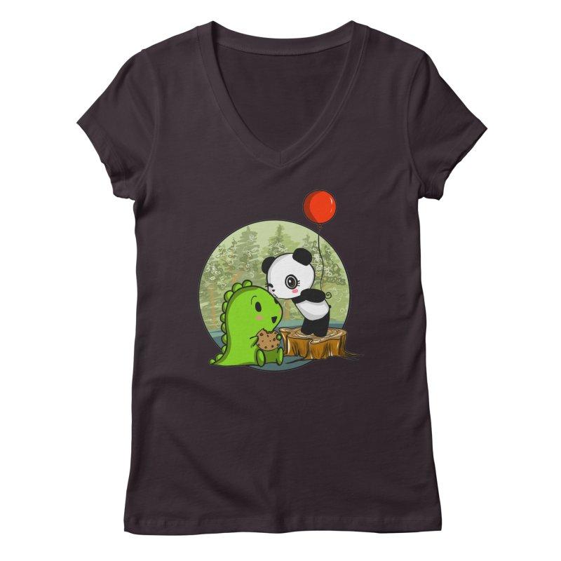 Cookies and Kisses Women's Regular V-Neck by Dino & Panda Inc Artist Shop