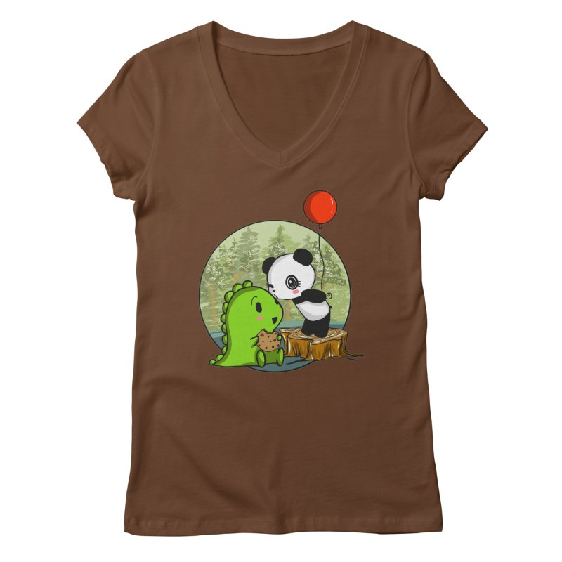 Cookies and Kisses Women's Regular V-Neck by Dino & Panda Inc Artist Shop
