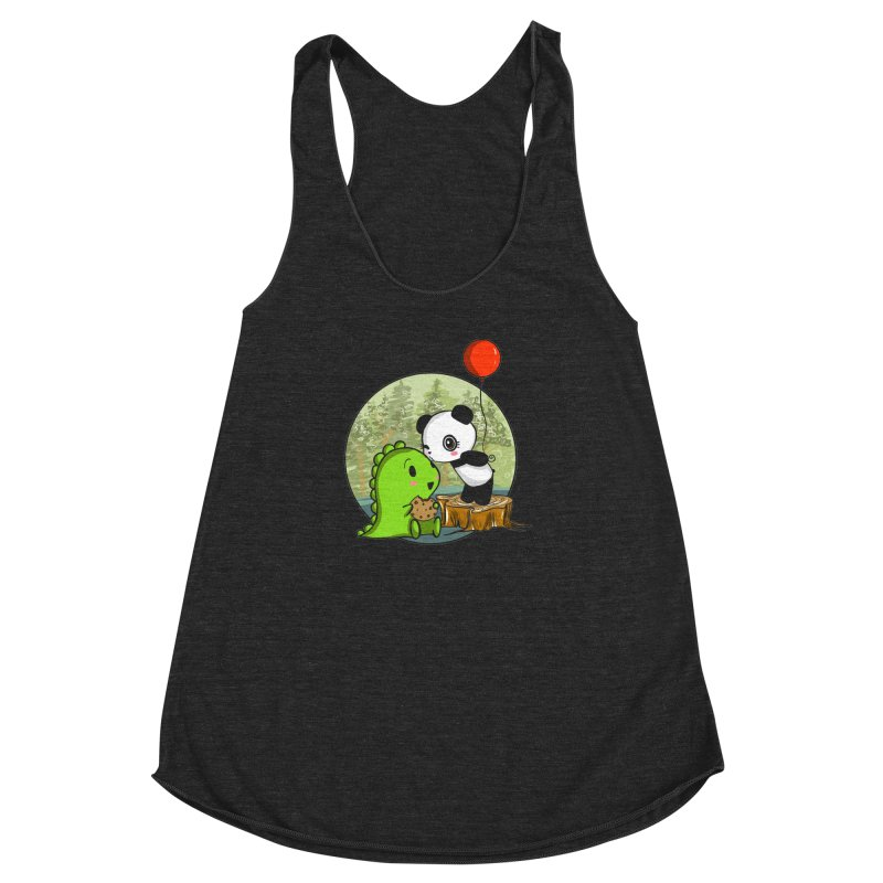 Cookies and Kisses Women's Racerback Triblend Tank by Dino & Panda Inc Artist Shop