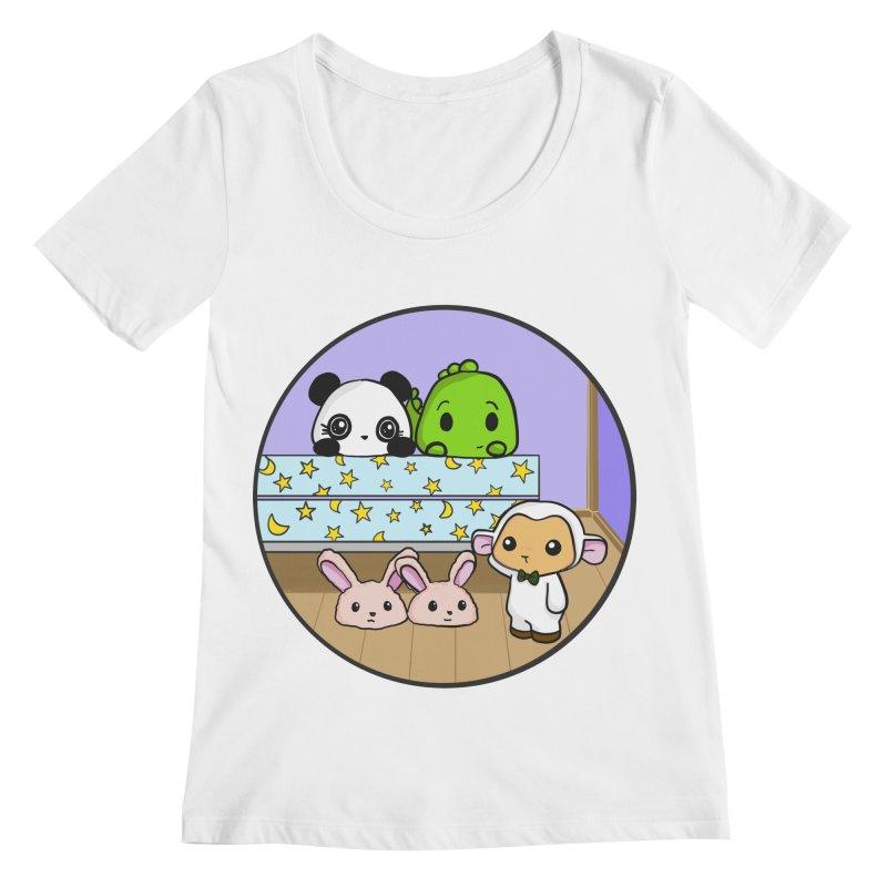 Dustbunny Friends Women's Scoopneck by Dino & Panda Inc Artist Shop