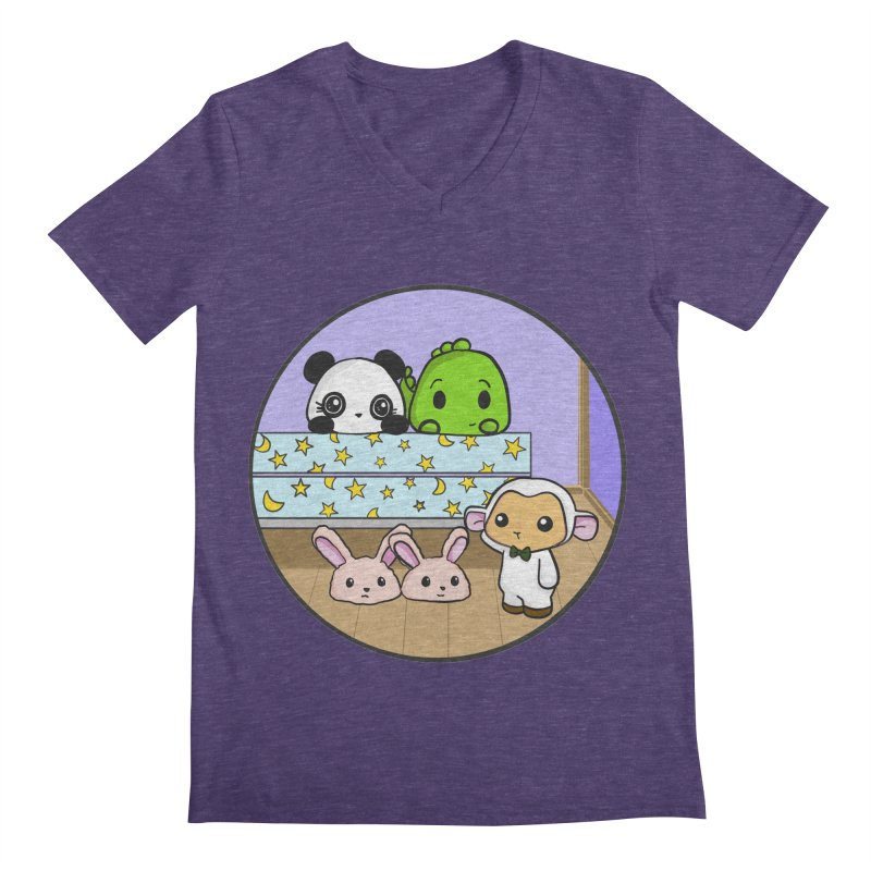 Dustbunny Friends Men's Regular V-Neck by Dino & Panda Inc Artist Shop