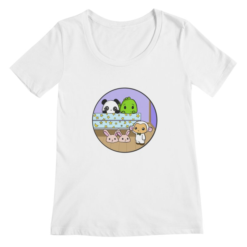 Dustbunny Friends Women's Scoopneck by Dino & Panda Inc Artist Shop