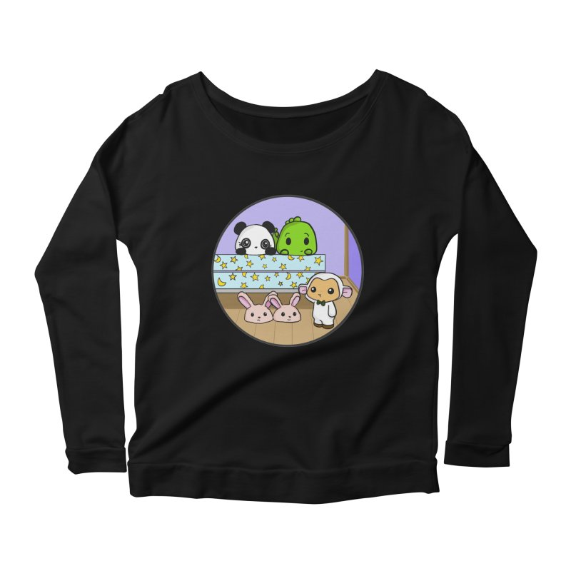 Dustbunny Friends Women's Longsleeve Scoopneck  by Dino & Panda Inc Artist Shop