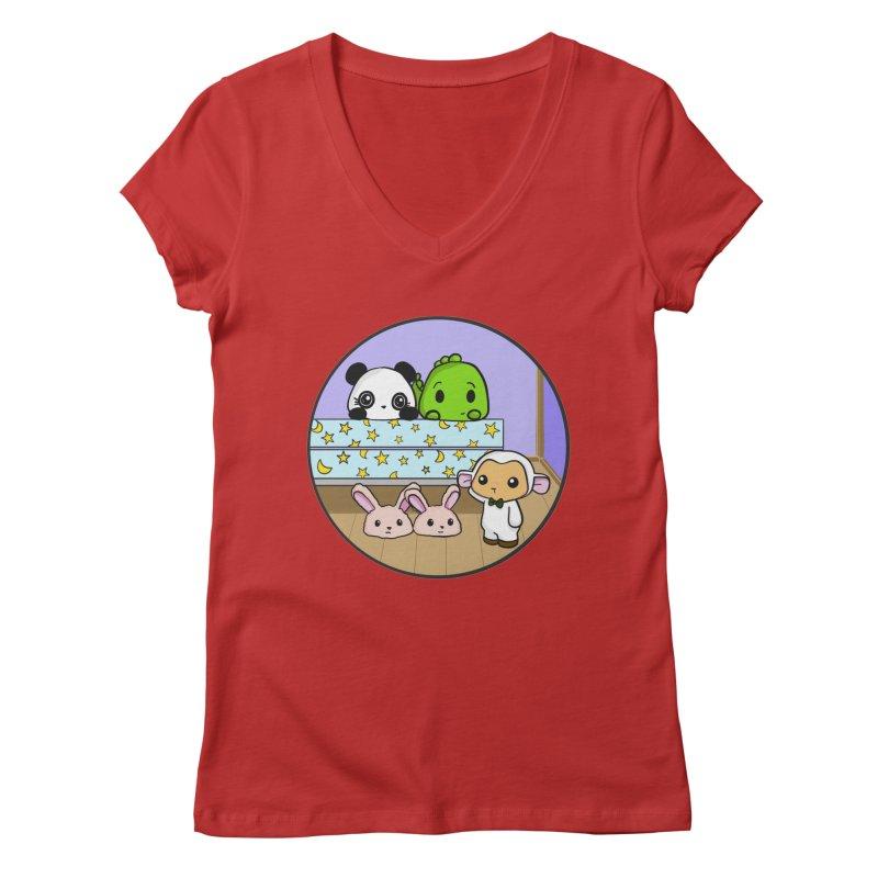 Dustbunny Friends Women's Regular V-Neck by Dino & Panda Inc Artist Shop