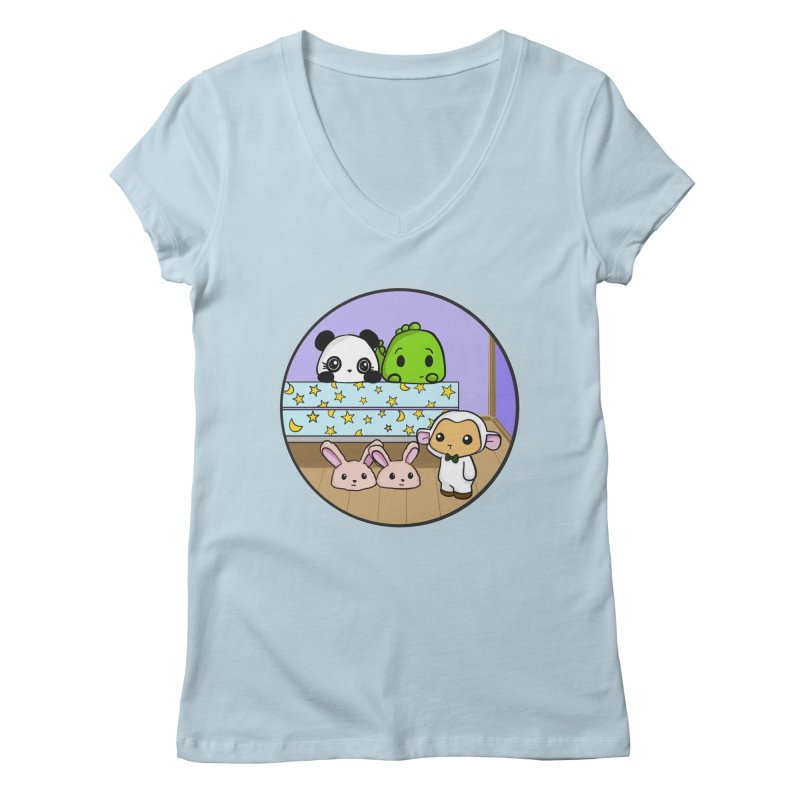 Dustbunny Friends Women's V-Neck by Dino & Panda Inc Artist Shop