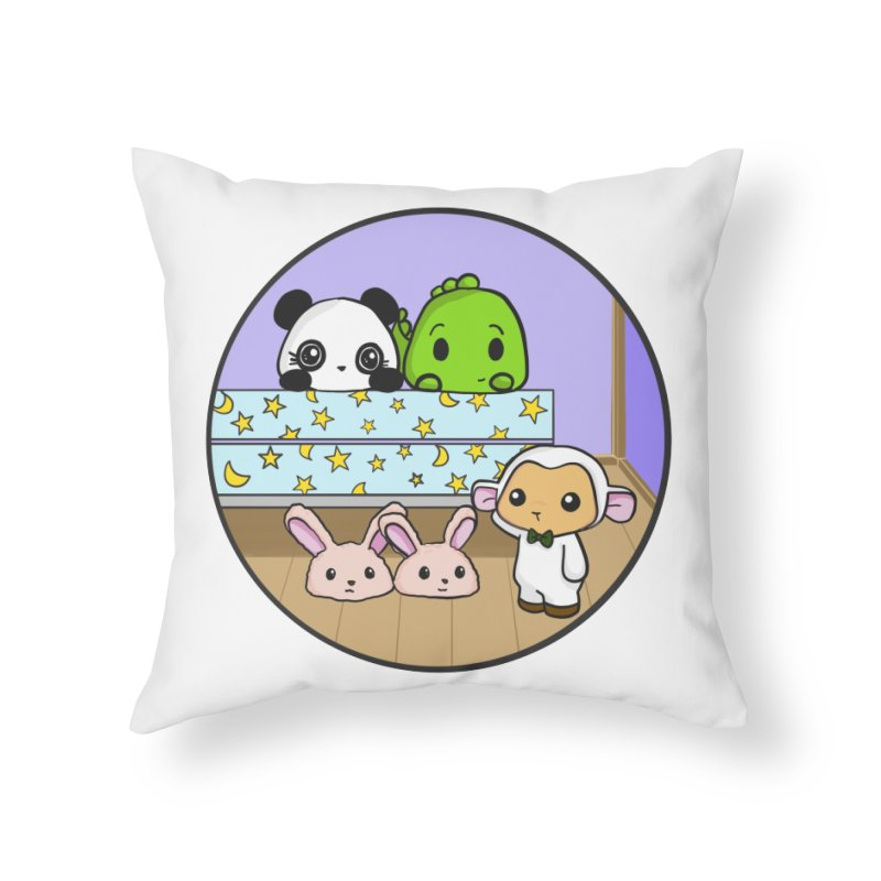 Dustbunny Friends Home Throw Pillow by Dino & Panda Inc Artist Shop