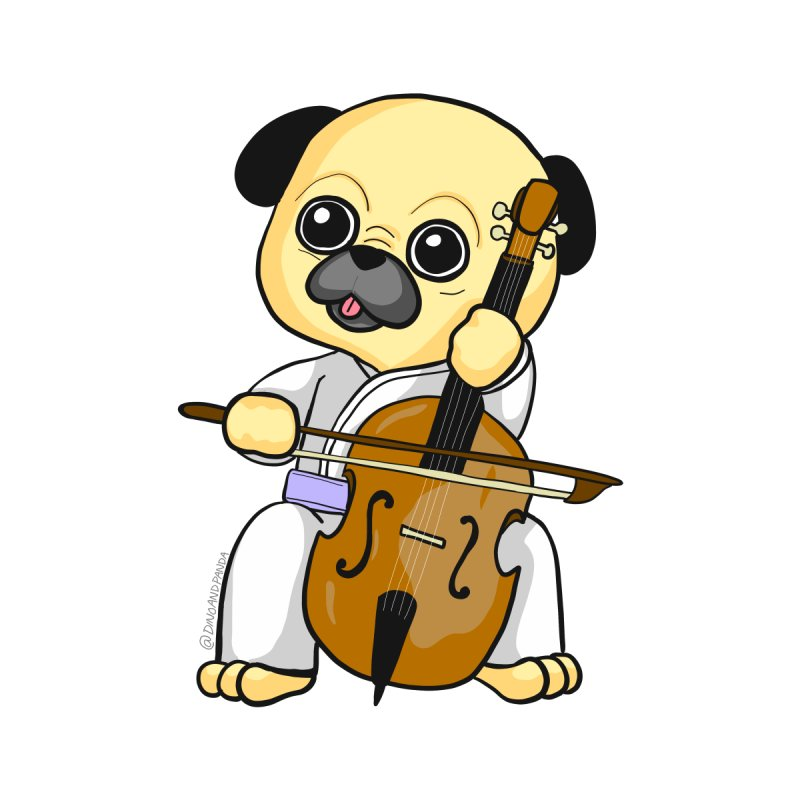 Puggie plays the Cello by Dino & Panda Inc Artist Shop