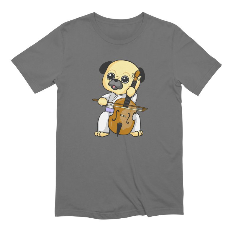 Puggie plays the Cello Men's T-Shirt by Dino & Panda Inc Artist Shop