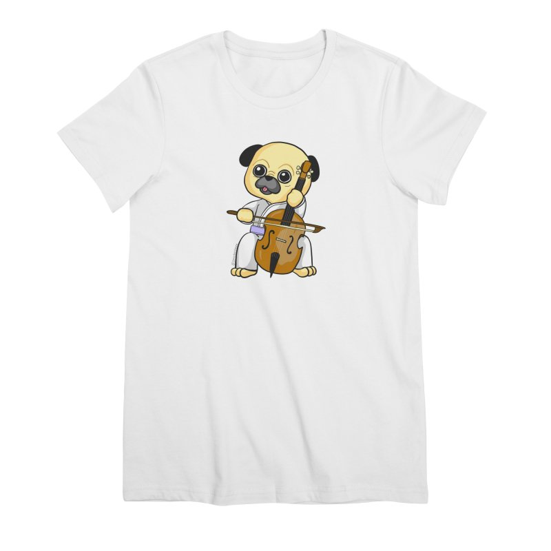 Puggie plays the Cello Women's Premium T-Shirt by Dino & Panda Inc Artist Shop